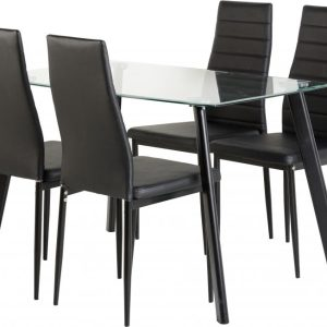 "Abbey 47"" Dining Set in Clear Glass/Black/Black PU"