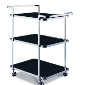 Abbey Trolley with 3 Shelves Black & Chrome