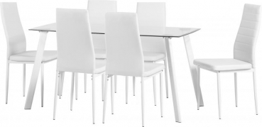 "Abbey 55"" Dining Set in Clear Glass/Black or White/ PU"