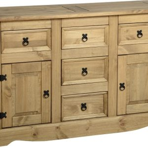 Corona 2 Door 5 Drawer Sideboard in Distressed Waxed Pine