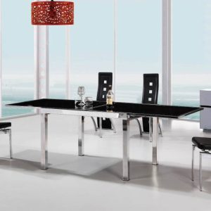Vegas Extendable Large Dining Set (Black or Frosted Glass)