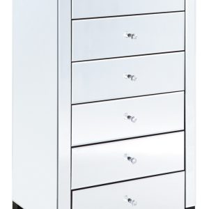 Clear Mirrored 6 Drawer Tallboy