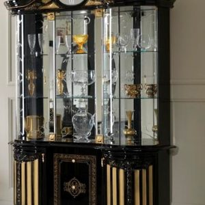 Betty 3 Door Vertine Black/Gold Display Unit