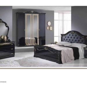 Eva-Ben 4D Italian Black/Gold Bedroom Set