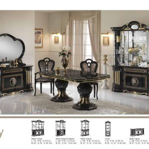 Betty 4 Doors Vitrine/Display Unit Black/Gold