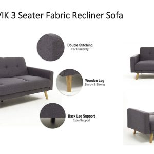 Narvik 3 Seater Recliner Fabric Sofa Bed