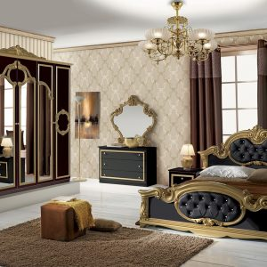 Barocco Italian Black/Gold Bedroom Set