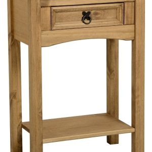 Corona 1 Drawer Console Table with Shelf in Distressed Waxed Pine