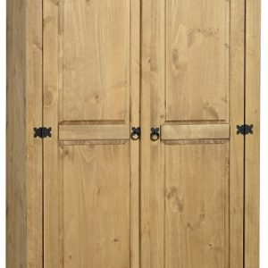 Corona 2 Door Wardrobe in Distressed Waxed Pine