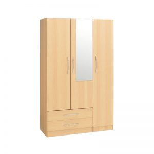 Budget 3 Door Wardrobe 2 Drawers Mirror