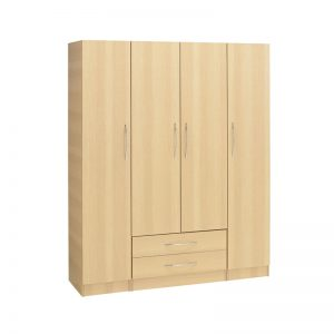 Budget 4 Door Wardrobe 2 Drawers
