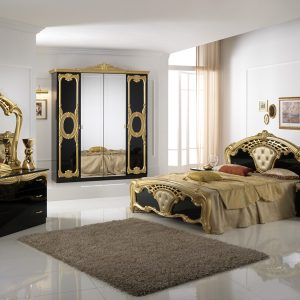 Cristina Italian Black/Gold Bedroom Set