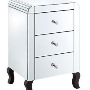 Clear Mirrored 3 Drawer Bedside