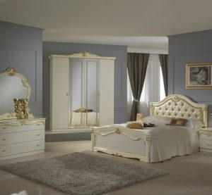 Eva Italian Beige/Gold Bedroom Set