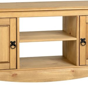 Corona 2 Door 1 Shelf Flat Screen TV Unit in Distressed Waxed Pine