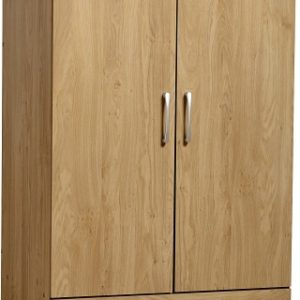 Charles 2 Door 2 Drawer Wardrobe in Oak Effect Veneer with Walnut Trim