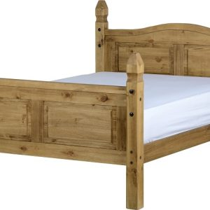 "Corona 4'6"" Bed High Foot End in Distressed Waxed Pine"