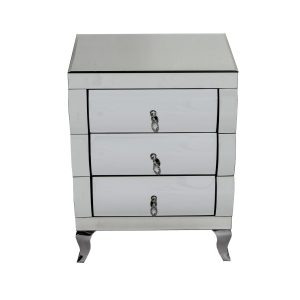 Curved Mirrored 3 Drawer Bedside