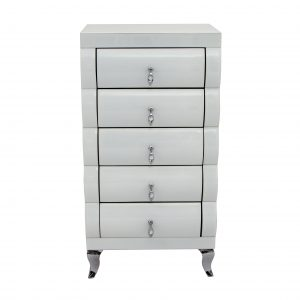 White Mirror Curved 5 Drawer Tallboy
