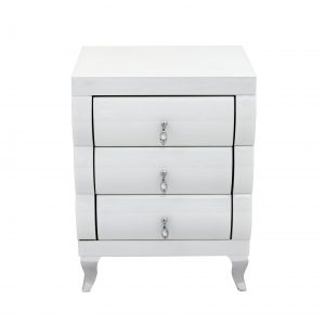 White Mirror Curved 3 Drawer Bedside