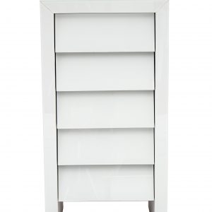 White Mirror 5 Drawer Slanted Tallboy (MF4004)