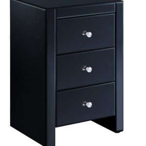 Black Mirrored 3 Drawer Bedside