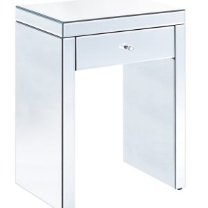Clear Mirrored 1 Drawer Bedside
