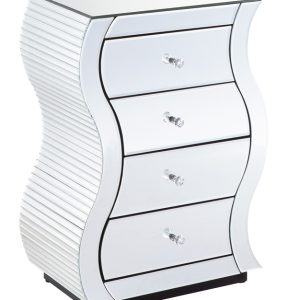 Clear Mirrored 4 Drawer Bedside