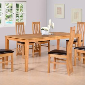 Ainsley Extending Dining Set in Oak Veneer/Brown