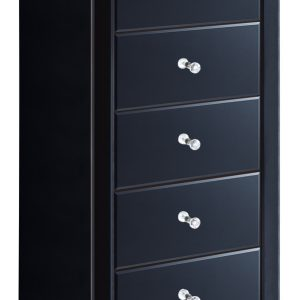 Black Mirrored 5 Drawer Tallboy