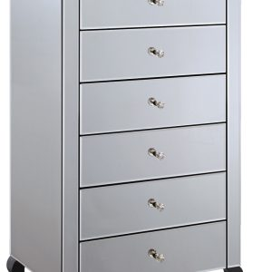 Mirrored Smokey Tall Boy 5 Drawer Chest (MF2017-SM)