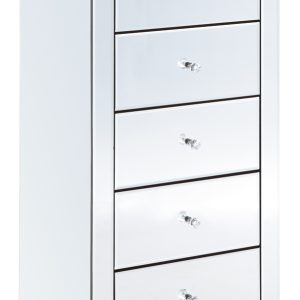 Clear Mirrored 5 Drawer Tallboy