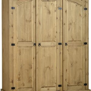 Corona 3 Door Wardrobe in Distressed Waxed Pine