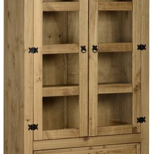 Corona 2 Door 2 Drawer Glass Display Unit in Distressed Waxed Pine/Clear