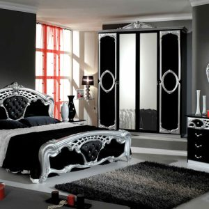 Eva Black/Silver Italian Bedroom Set