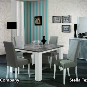 Stella Dining/4 Chairs (grey/white)