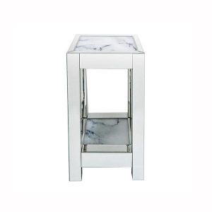 Mirror Marble Two Tier Side Tables