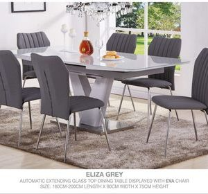 Eliza Grey (Automatic Extending Glass Top) Dining Set