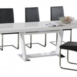 Maxwell Extending Dining Table with Stainless Steel Base 6 Chairs
