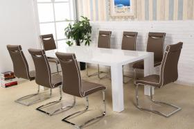 High Gloss (White) Dining Table with 8 PU Chairs