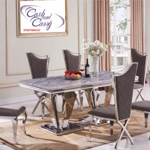Mowana Marble Grey Top Dining Table with 6 Nerona Grey Chairs