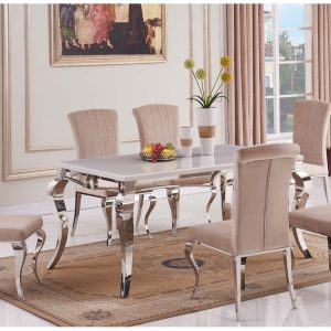 Sarah Marble Grey Top Dining Table with 6 Armenia Chairs