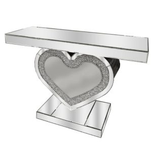 Crushed Glass Heart Shaped Console Table