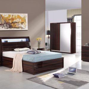 Rugby Ottoman Storage New Walnut Lacquered Bed Touch System Led & Mobile phone Charging Points  Bedroom Set